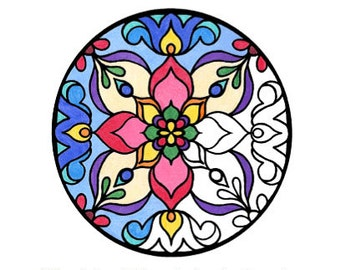 12 Mandala Coloring Cards for Adults and Kids