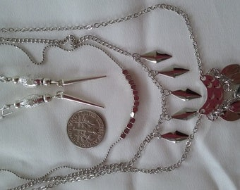 SALE Triple Silver Pendant Chains with Complimentary Earrings