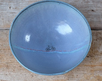 Large Blue Bike Bowl with Green and Red Glaze