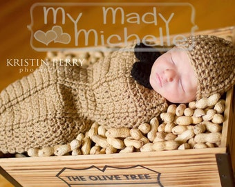 Peanut Cocoon Photography prop for photo with Hat and Bow Newborn 0-3 months or 3-6 months