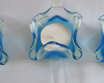 Three Ocean Blue fused glass t- light holders