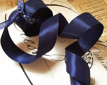 """5 Yards of Rayon Taffeta Wired Ribbon in Navy (1"""")"""