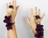 Wristlet Set in Gold and Purple, Fairy Bracelet, Floral Wrap, Wedding Accessory, Costume