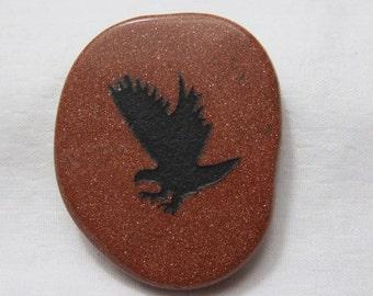 EAGLE GOLDSTONE Totem Energy Stone Palm Stone Animal Spirit Stone Healing Stone Healing Crystal Reiki Chakra Energy