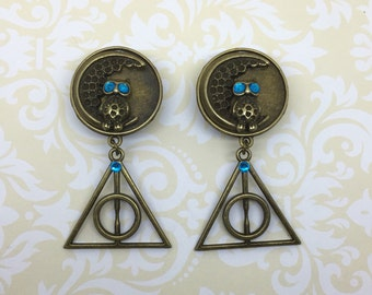 """Deathly Hallows Moon Owl / Plugs Gauges Stretchers Earrings / Stretched Gauged Ears / 00g 7/16"""" 1/2"""" 9/16"""" 5/8"""" 3/4"""" 7/8"""" 1"""" (10mm-25mm)"""