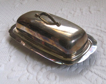 butter dish . silver plated butter dish . butter dish with lid
