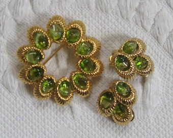 Demi Parure . swoboda . olivine . brooch and earrings . olivine brooch and earrings . olivine demi parure