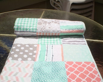Modern Baby quilt-baby girl quilt, baby girl bedding,patchwork crib quilt,coral,mint green,grey,peach,toddler,chevrons,dots,Peach Cobbler