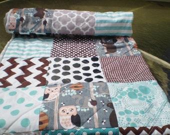 Woodland Baby quilt Rustic nursery quilt,baby boy or girl bedding,crib,forest,teal,grey,brown,bear,owl,squirrel,chevron,toddler,Honey Bear