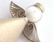 quilled paper angel // gold // 3d quilled angel // quilled angel ornament