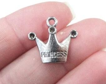 10, Princess Crown Charms 19x17mm