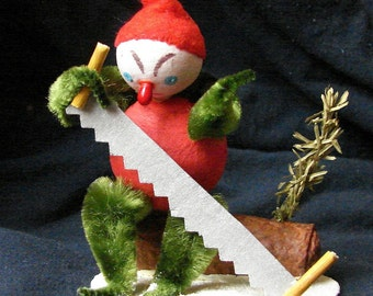 Spun Cotton Elf Cutting Christmas Yule Log
