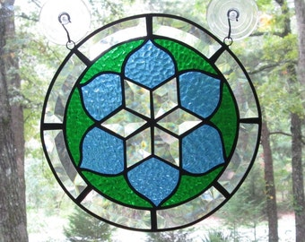 Stained Glass Panel, Round Beveled Border and Star with Blue and Green Background - 10 1/2""
