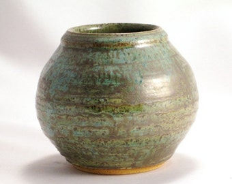 Pottery Small Vase in Gunmetal Green with Carving