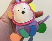 Big size - Kelvin the Monkey cowhide leather charm ( Rainbow color )