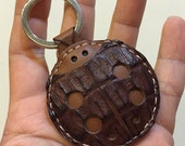 Ready Stock - Small size - Penny the ladybug leather charm ( Dark brown crocodile skin and brown cowhide ) - One piece only