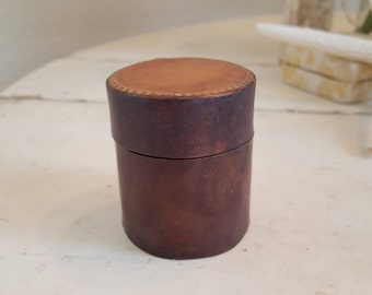 Antique Tiny Leather Stamp Box Round Cyndrilical Match Box