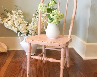 Small Bentwood Child's or Doll's Chair Painted Pink Spindled Legs Antique