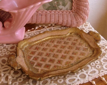 Italian Florentine Pink and Gold Tray Oval Wooden