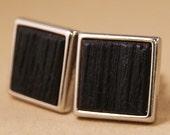 Whiskey Barrel Cufflinks in Silver Bezel