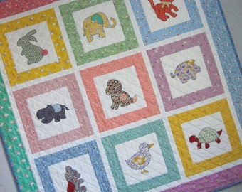 BABY ANIMALS a Vintage Quilt from Quilts by Elena 30s Reproduction Fabrics
