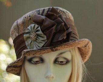 Hat Designer Edwardian Downton Abbey Riding Bucket Steampunk Dark Brown Fabric