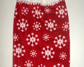 Hanging Crochet Top Towel - Snowflakes On Red - Plush Thick Towel - Snowflake Towel - Winter Kitchen Towel - Hanging Hand Towel - Dish Towel