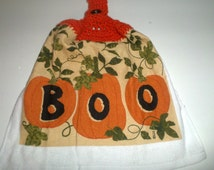 BOO Hanging Towel - Halloween Boo Towel - Hanging Towel - Crochet Top Towel - Pumpkin Towel - Orange and Black - Halloween Kitchen Towel