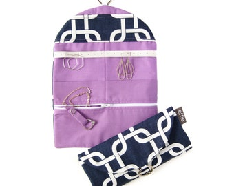 Travel Jewelry Organizer. Modern Links in Navy with Radiant Orchid Purple. Jewelry Travel Case. Travel Essentials. Gifts for Travelers