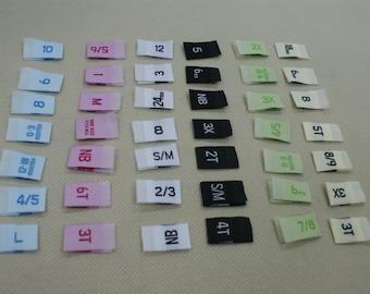 100 Premium Woven Label size tag Combo 2T, 3T, 4T, 5, 6, 7, 0-3 m, 0-6 m, 3-6 m, 6-9 m, 6-12 m, xxs, xs, s, m, L,and More Choose ur sizes
