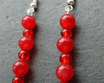 Bright Red Earrings, Vibrant Red Earrings, Cherry Red Earrings, Red Bead Earrings, Bohemian Earrings, Long Bead Earrings, Anniversary Gift