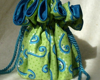 Squiggles Jewelry Pouch, Travel Organizer, Bag, tote in lime and turquoise