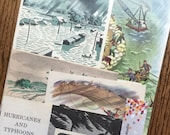 Hurricane Warning Vintage Natural Disaster Weather Report Collage, Scrapbook and Planner Kit Number 1968