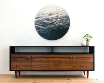 "Burnt Media Console - 72"" - Walnut Media Console - Blackened - TV Stand - Credenza"