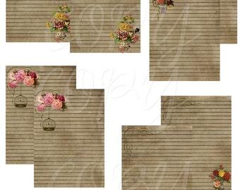 Instant Download  - Vintage Notecards 8 - ACEO - Digital Download - Printable  Digital Collage Sheet