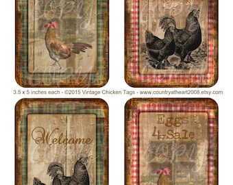 Vintage Chicken Tags - 3.5 x 5 inches - Printable  Digital Collage Sheet - Download Images - Tags - INSTANT DOWNLOAD