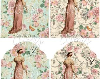 INSTANT DOWNLOAD - Ville De Paris Jane Austen - Tags -  Digital Download - Printable  Digital Collage Sheet