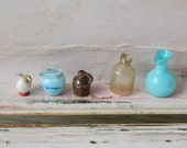5 Vintage Miniature Glass and Stoneware Vessels Jugs Pitchers
