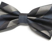 Mens Bow Tie. Taupe Brown Blue Checkers Bow Ties With Matching Pocket Square Option