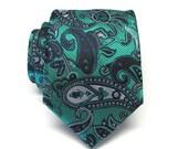 Mens Tie Gray Black Silver Paisley Mens Necktie