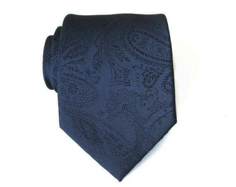Blue Tie. Mens Tie. Dark Navy Blue Paisley Mens Necktie
