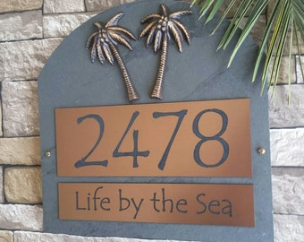 tropical palm trees house numbers beach house address plaque