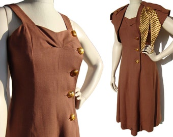 Vintage 40s Dress & Bolero Set Art Deco Brown Linen Yellow Rayon Scarf Novelty Buttons S / M