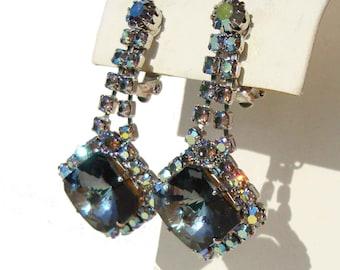 Vintage D&E Juliana Earrings Blue Rhinestone Delizza Elster Rivoli Swarovski Drops