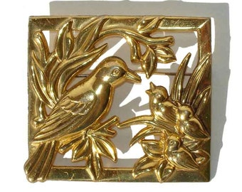 Vintage 40s Coro Bird Brooch Adolf Katz Sterling Vermeil Birds in Nest Pin