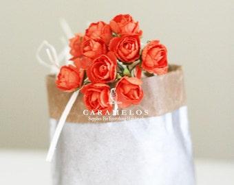 Bulk 120 Orange Millinery paper flowers