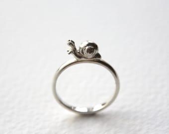 Snail Ring, Handmade in Sterling Silver, Made in Brighton, UK