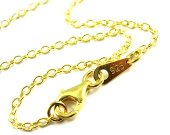 Gold Necklace, Gold Vermeil Sterling Silver Chain, Gold Plated Chain Wholesale- 2mm Strong Cable Oval Necklace-All Sizes-SKU: 601019