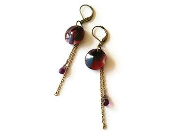 Burgungy Earrings with Vintage Beads - Plum Earrings - Marsala Earrings - Eggplant Earrings - Swirl Earrings (SD1024)