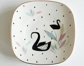 SALE Very large cake/serving plate platter Black swans and raindrops